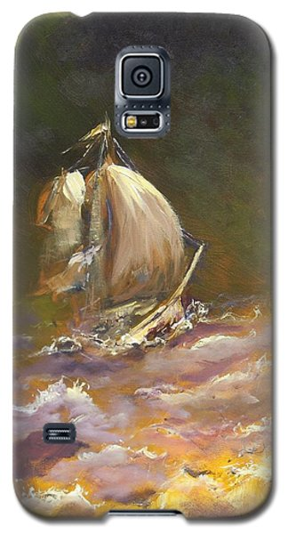 Galaxy S5 Case featuring the painting A Stormy Night At Sea by Dan Whittemore
