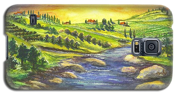 Galaxy S5 Case featuring the painting A Sunset In Wine Country by Carol Wisniewski
