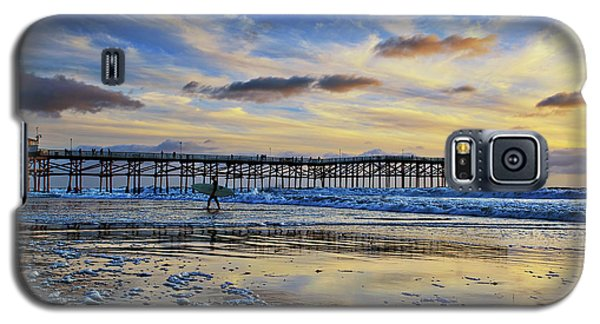 A Surfer Heads Home Under A Cloudy Sunset At Crystal Pier Galaxy S5 Case