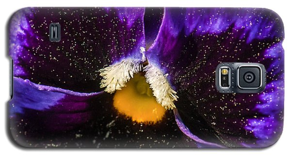 Galaxy S5 Case featuring the photograph A Universe In A Pansy by Jim Moore