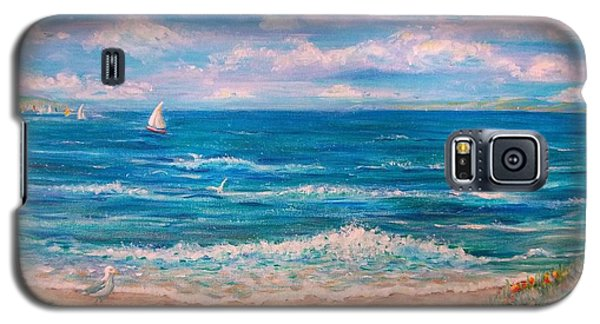 Galaxy S5 Case featuring the painting A Walk In The Sand by Dee Davis
