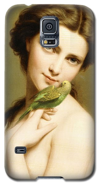 Parakeet Galaxy S5 Case - A Young Beauty With A Parakeet by Fritz Zuber-Buhler
