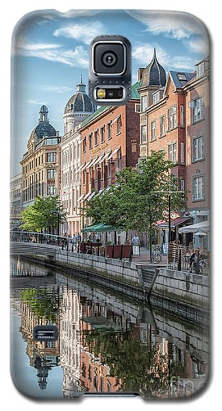 Galaxy S5 Case featuring the photograph Aarhus Afternoon Canal Scene by Antony McAulay