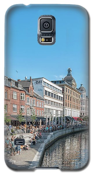 Galaxy S5 Case featuring the photograph Aarhus Summertime Canal Scene by Antony McAulay