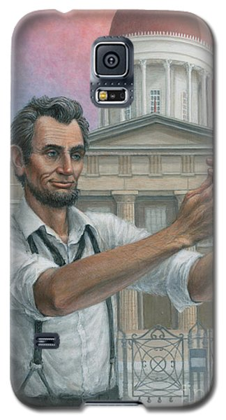 Galaxy S5 Case featuring the painting Abe's 1st Selfie by Jane Bucci