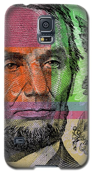 Galaxy S5 Case featuring the digital art Abraham Lincoln - $5 Bill by Jean luc Comperat
