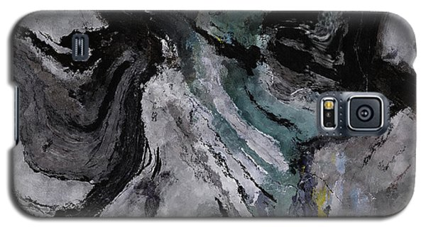 Galaxy S5 Case featuring the painting Abstract And Minimalist Acryling Painting In Gray Color by Ayse Deniz