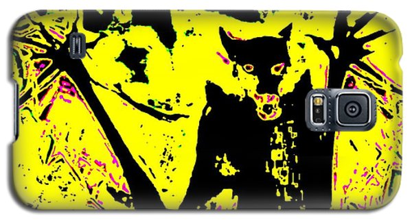 Galaxy S5 Case featuring the painting Black On Yellow Dog-man by Hartmut Jager