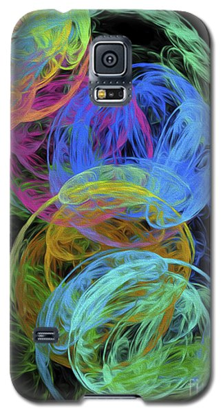 Galaxy S5 Case featuring the digital art Abstract Bubbles by Andee Design