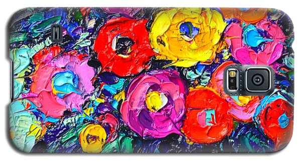 Abstract Colorful Wild Roses Modern Impressionist Palette Knife Oil Painting By Ana Maria Edulescu  Galaxy S5 Case