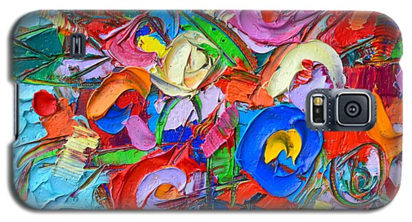 Abstract Flowers Floral Miniature Modern Impressionist Palette Knife Oil Painting Ana Maria Edulescu Galaxy S5 Case