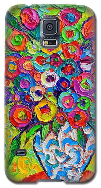 Abstract Flowers Of Happiness Impressionist Impasto Palette Knife Oil Painting By Ana Maria Edulescu Galaxy S5 Case