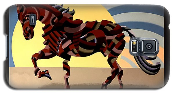 Galaxy S5 Case featuring the painting Abstract Geometric Futurist Horse by Mark Webster