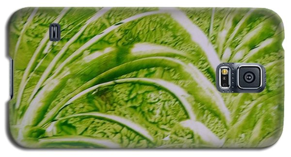 Abstract Green And White Leaves And Grass Galaxy S5 Case