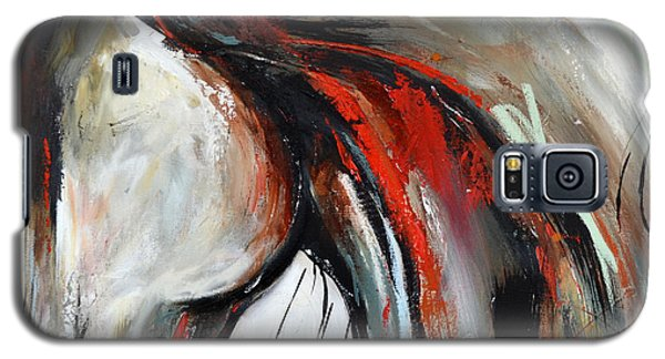 Galaxy S5 Case featuring the painting Abstract Horse 21 by Cher Devereaux