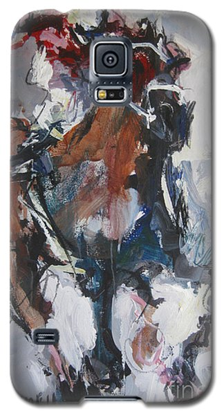 Galaxy S5 Case featuring the painting Abstract Horse Racing Painting by Robert Joyner