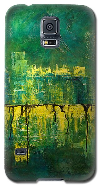 Abstract In Yellow And Green Galaxy S5 Case by Jocelyn Friis