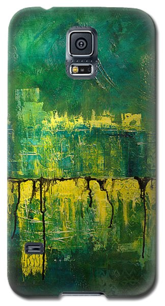 Abstract In Yellow And Green Galaxy S5 Case