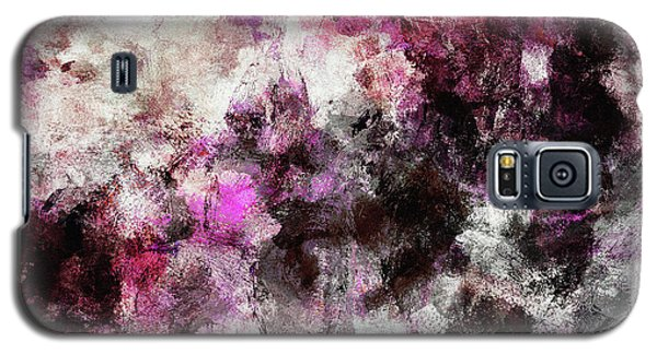 Galaxy S5 Case featuring the painting Abstract Landscape Painting In Purple And Pink Tones by Ayse Deniz