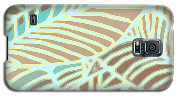 Abstract Leaves Coffee And Aqua Galaxy S5 Case