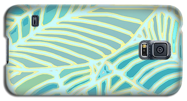 Abstract Leaves Teal And Aqua Galaxy S5 Case