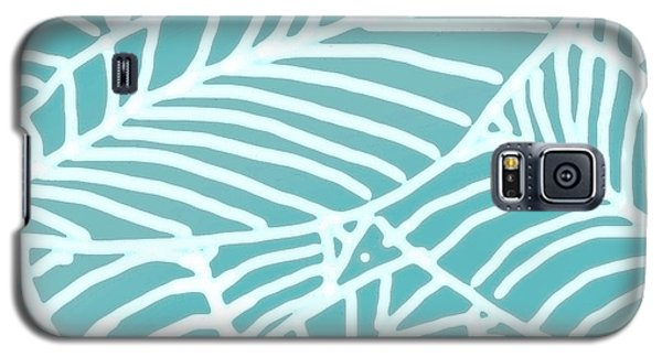 Abstract Leaves Teal Batik Galaxy S5 Case