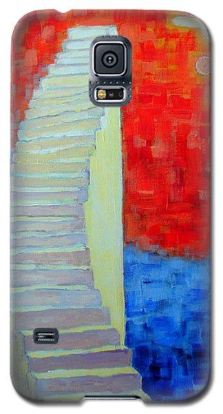 Galaxy S5 Case featuring the painting Abstract Moon by Ana Maria Edulescu