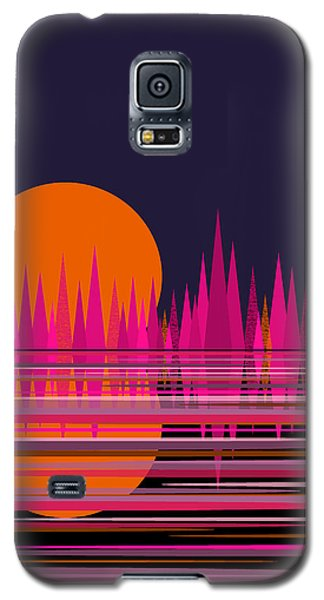 Galaxy S5 Case featuring the digital art Abstract Moon Rise In Pink by Val Arie