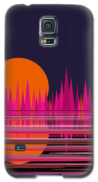 Abstract Moon Rise In Pink Galaxy S5 Case by Val Arie