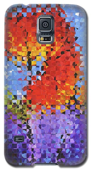 Galaxy S5 Case featuring the painting Abstract Red Flowers - Pieces 5 - Sharon Cummings by Sharon Cummings