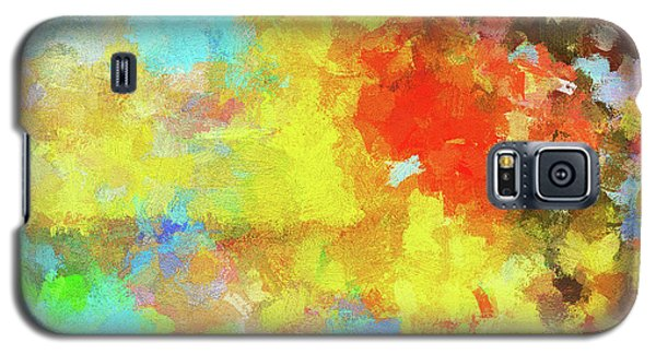 Galaxy S5 Case featuring the painting Abstract Seascape Painting With Vivid Colors by Ayse Deniz
