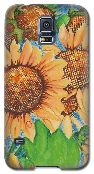 Galaxy S5 Case featuring the painting Abstract Sunflowers by Chrisann Ellis