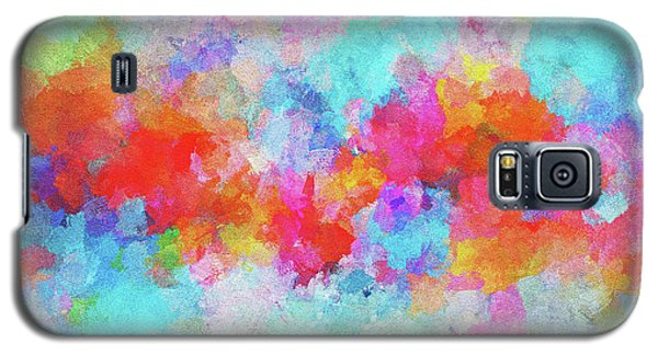 Galaxy S5 Case featuring the painting Abstract Sunset Painting With Colorful Clouds Over The Ocean by Ayse Deniz