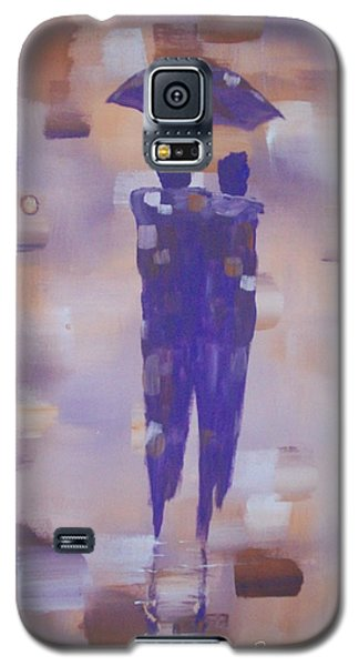 Galaxy S5 Case featuring the painting Abstract Walk In The Rain by Raymond Doward