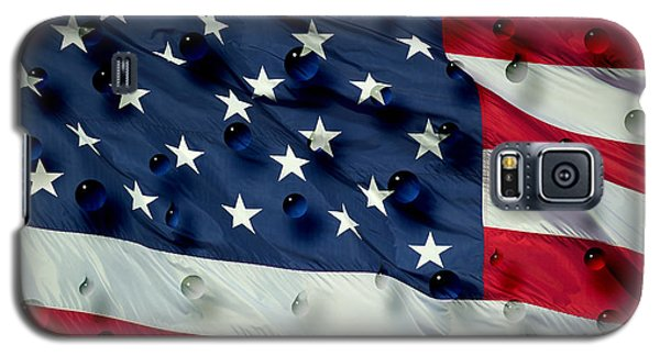 Galaxy S5 Case featuring the painting Abstract Water Drops On Usa Flag by Georgeta Blanaru