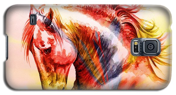 Galaxy S5 Case featuring the painting Abstract White Horse 46 by J- J- Espinoza