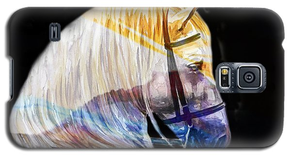 Galaxy S5 Case featuring the painting Abstract White Horse 50 by J- J- Espinoza
