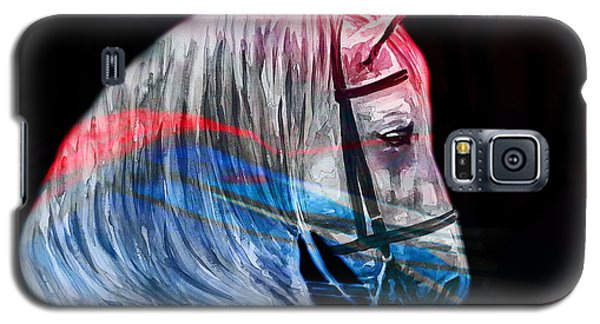 Galaxy S5 Case featuring the painting Abstract White Horse 53 by J- J- Espinoza