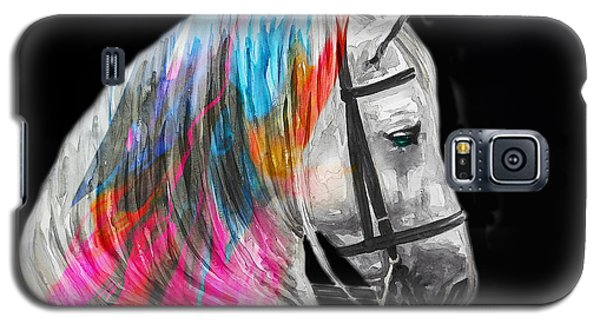 Galaxy S5 Case featuring the painting Abstract White Horse 54 by J- J- Espinoza