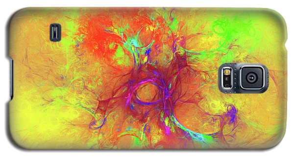 Galaxy S5 Case featuring the digital art Abstract With Yellow by Deborah Benoit