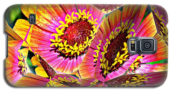 Abstract Yellow Flame Zinnia Galaxy S5 Case by Kathy Kelly