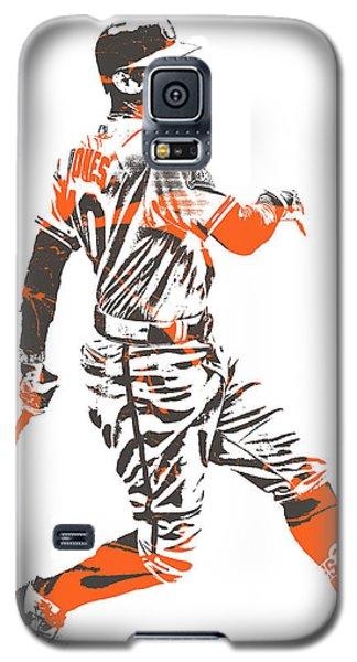 Oriole Galaxy S5 Case - Adam Jones Baltimore Orioles Pixel Art 11 by Joe Hamilton