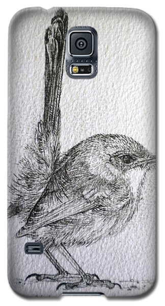 Galaxy S5 Case featuring the drawing Adolescent Blue Wren by Sandra Phryce-Jones