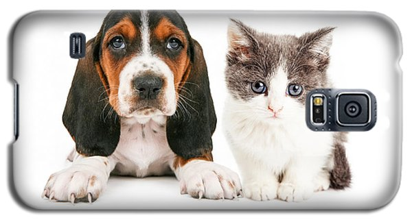 Adorable Basset Hound Puppy And Kitten Sitting Together Galaxy S5 Case