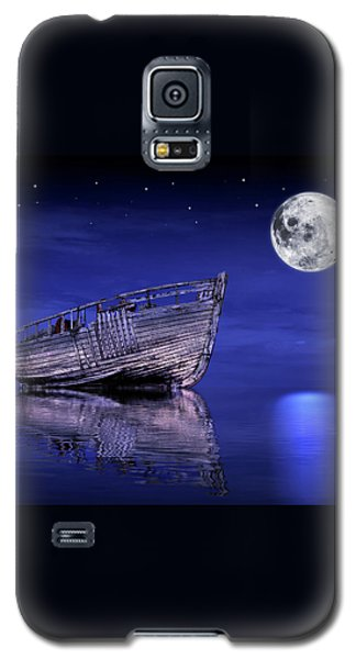 Galaxy S5 Case featuring the photograph Adrift In The Moonlight - Old Fishing Boat by Gill Billington