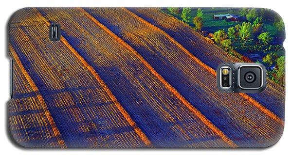 Aerial Farm Field Harvested At Sunset Galaxy S5 Case