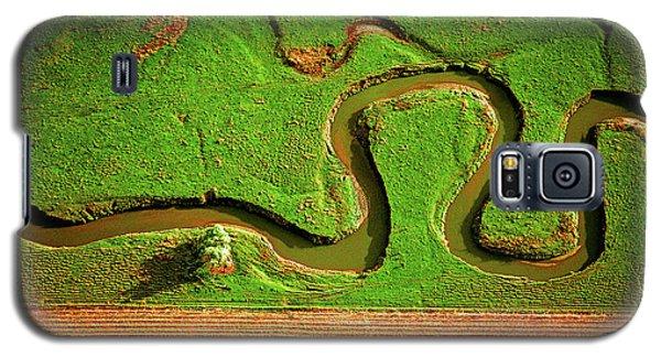 aerial, farm, stream, northern, Illinois, farms, meandering  Galaxy S5 Case