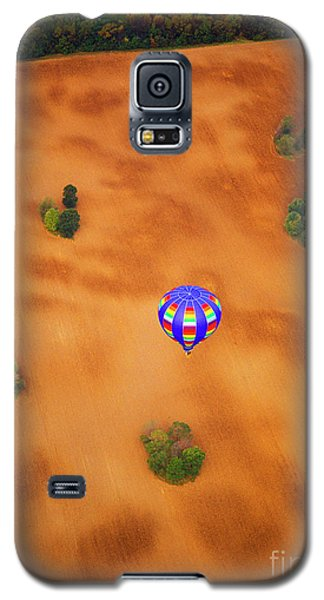 Aerial Of Hot Air Balloon Above Tilled Field Fall Galaxy S5 Case