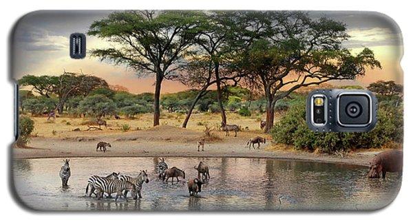 African Safari Wildlife At The Waterhole Galaxy S5 Case