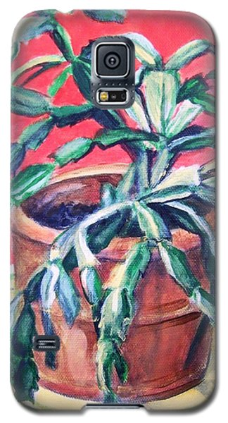 Galaxy S5 Case featuring the painting Christmas Cactus by Laura Aceto